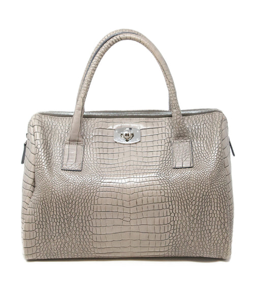 Furla Taupe Pressed Leather Satchel 1