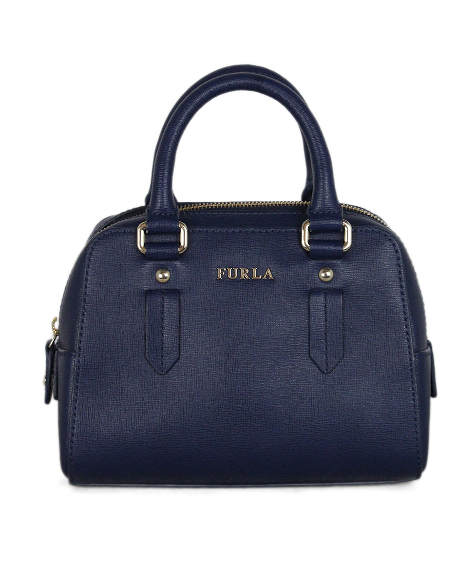 Furla blue leather satchel 1