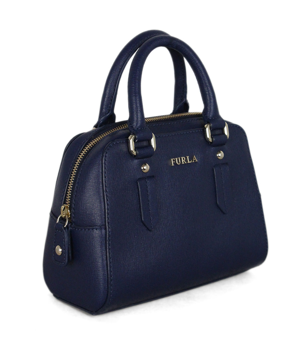 Furla blue leather satchel 2
