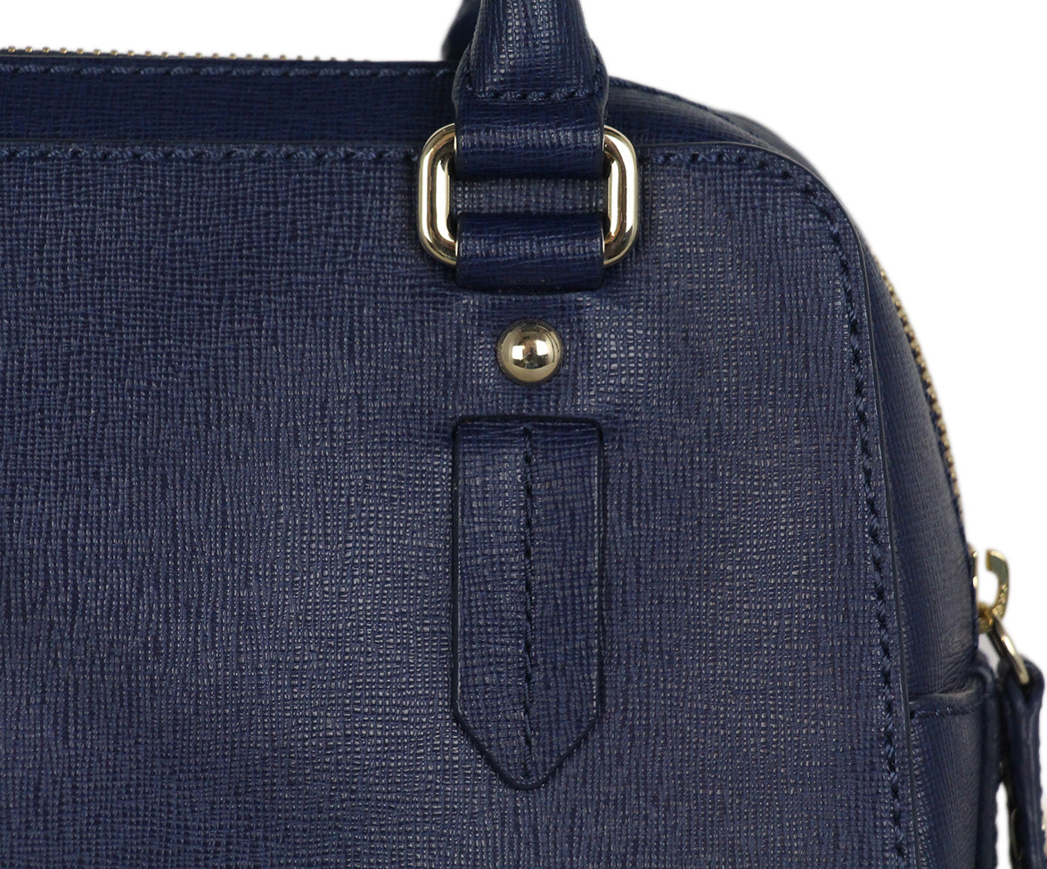 Furla blue leather satchel 8