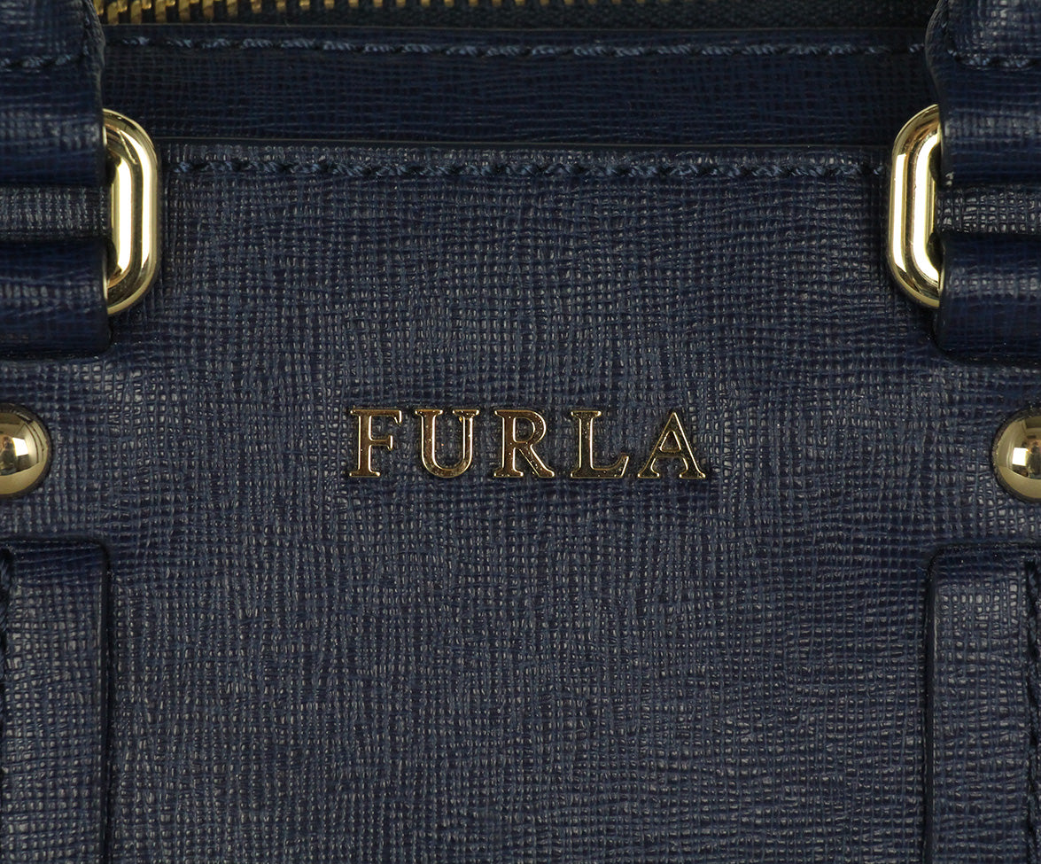 Furla blue leather satchel 9