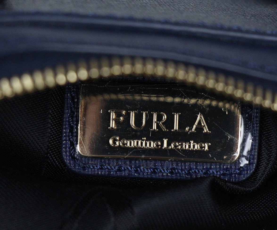 Furla blue leather satchel 7