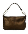 Furla Metallic Bronze Monogram Shoulder Bag Handbag 1