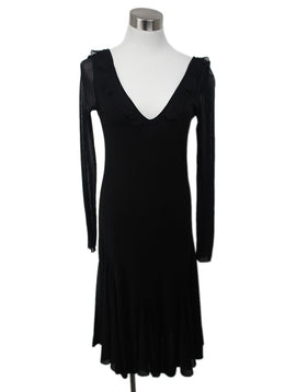 Fuzzi Black Dress with Ruffle Detail 1
