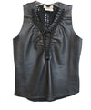 Fuzzi Black Leather Cotton Top 1