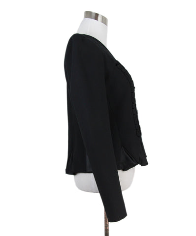 Galliano black cotton ribbon trim jacket 1