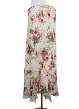 Galliano White Green Pink Floral Silk Skirt 2