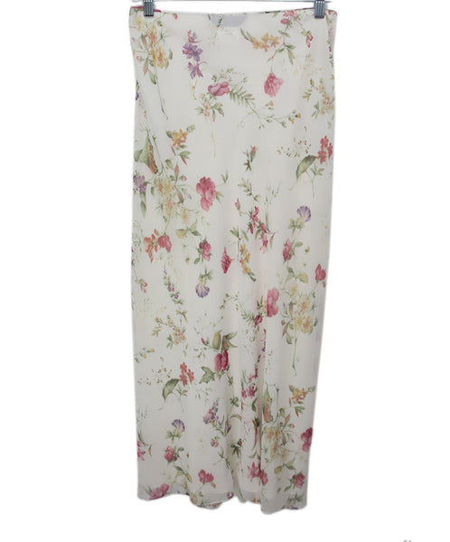 Galliano White Floral Pink Yellow Print Silk Skirt 1
