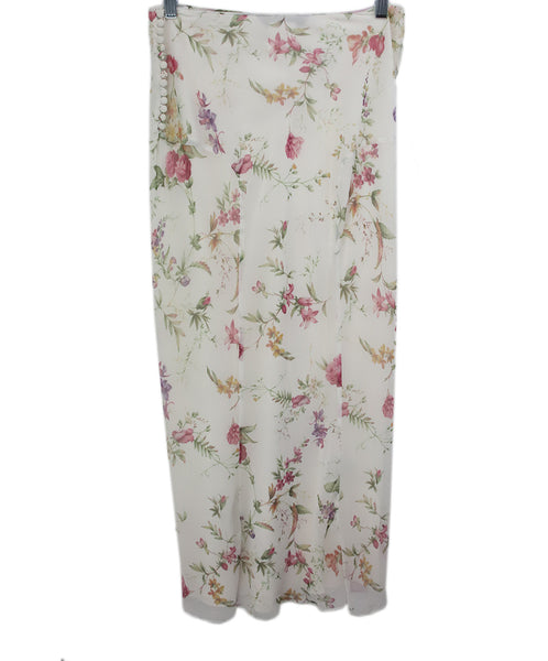 Galliano White Floral Pink Yellow Print Silk Skirt 2