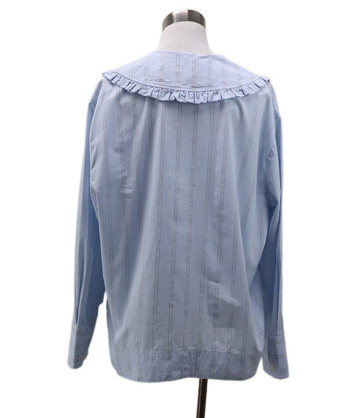 Ganni Blue White Striped Top 2