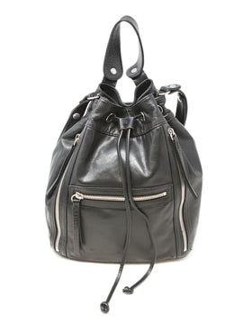 Gerard Darel Black Leather Drawstring Bucket Bag 1
