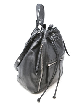 Gerard Darel Black Leather Drawstring Bucket Bag 2