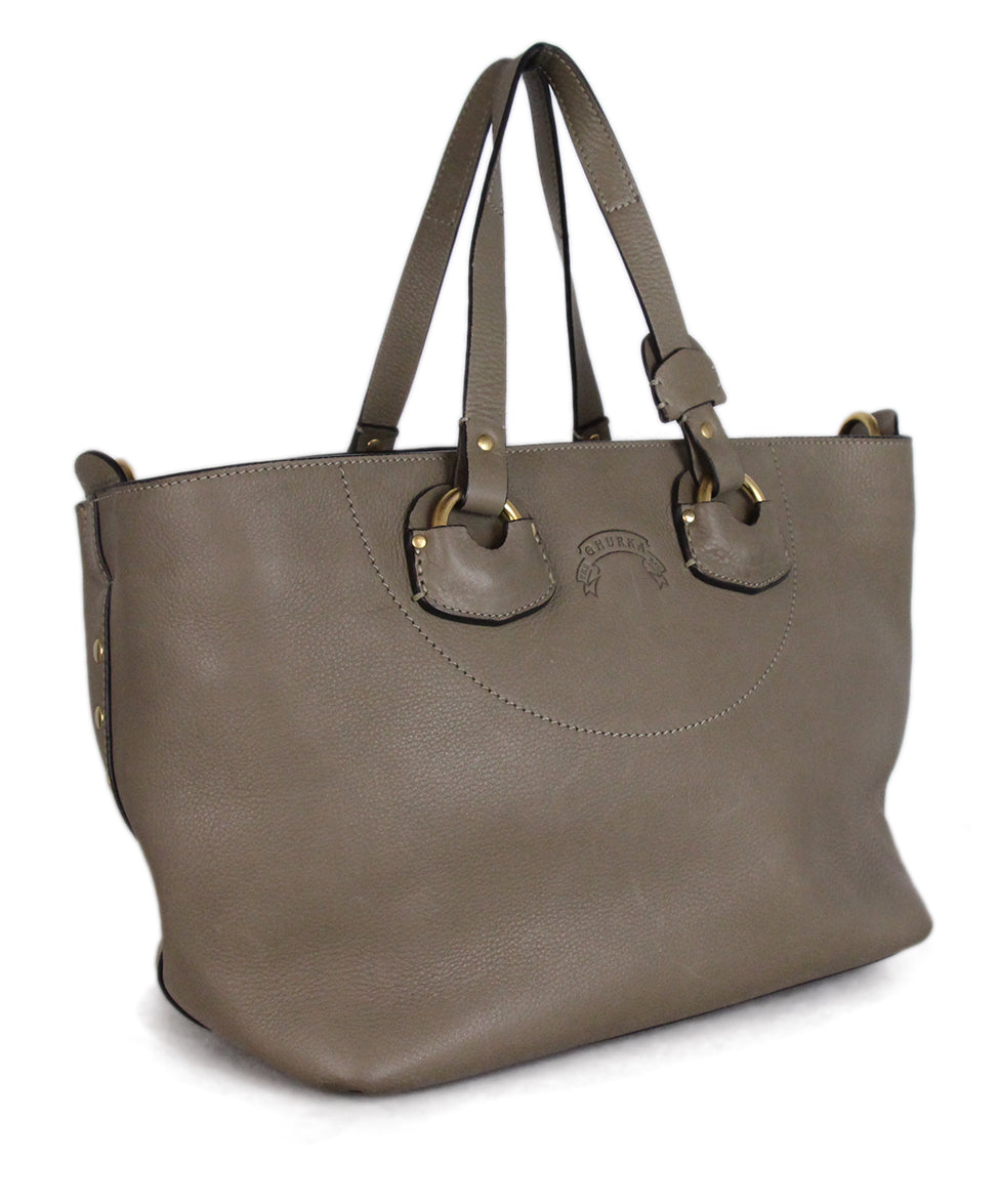 Ghurka Taupe Leather Satchel 2