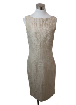 Giambattista Beige Linen Silk Dress 1