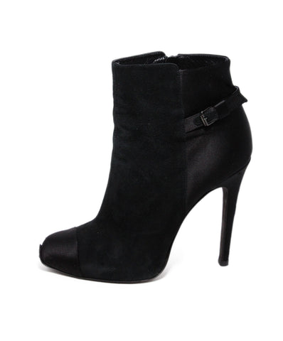 Giambattista Black Suede Satin Trim Booties 1