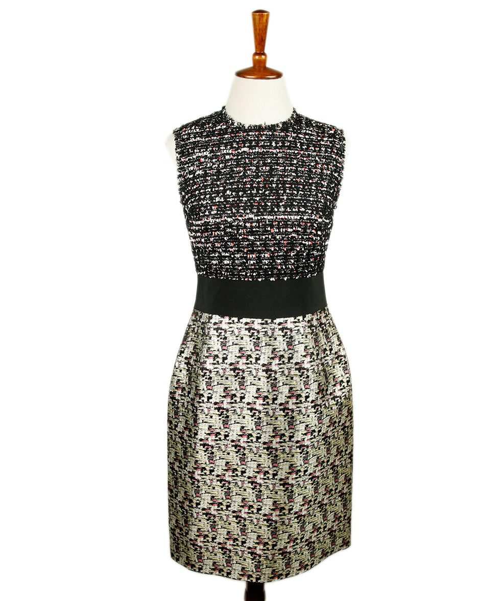 Giambattista Black White Tweed Silk Dress 1