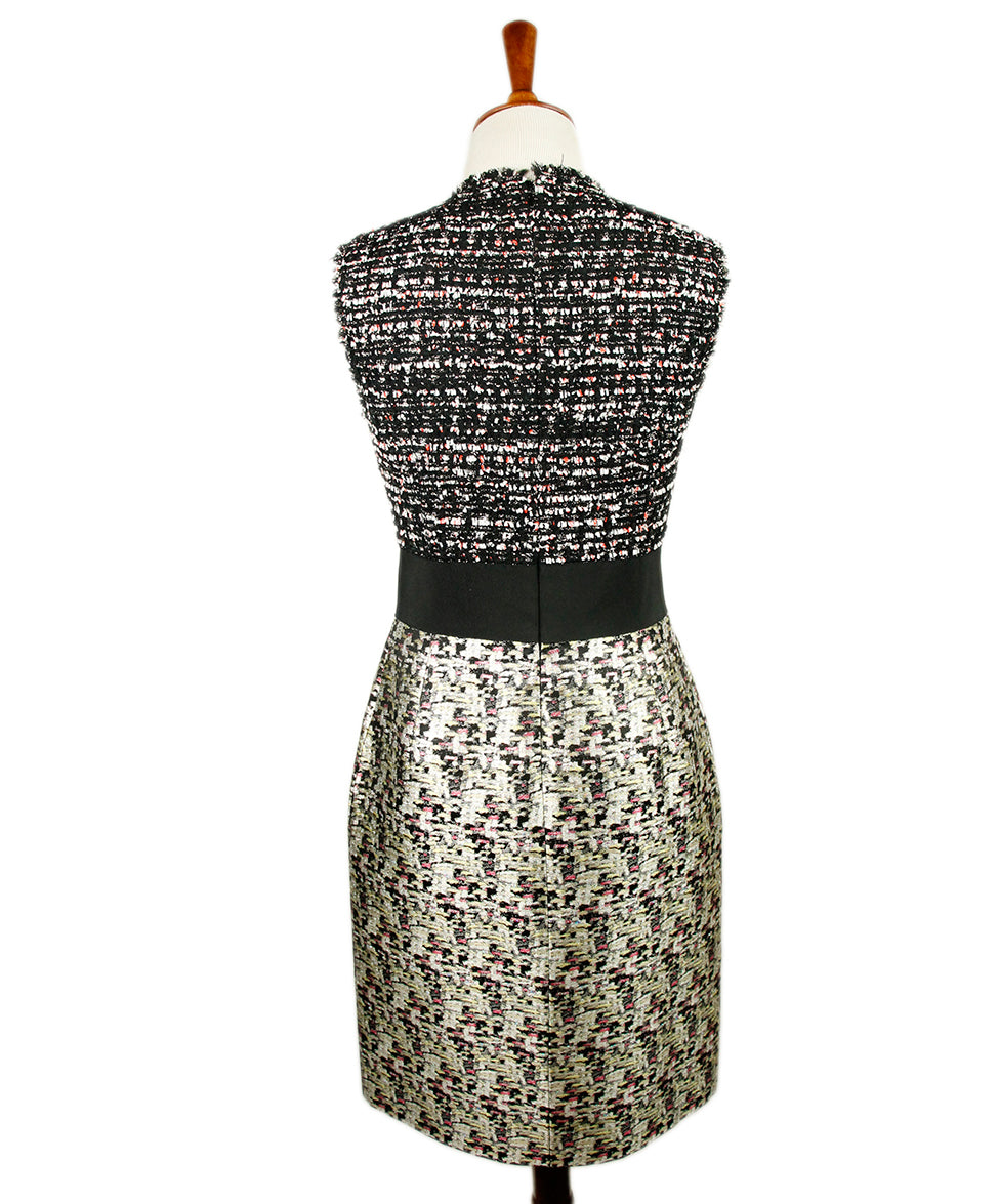 Giambattista Black White Tweed Silk Dress 3
