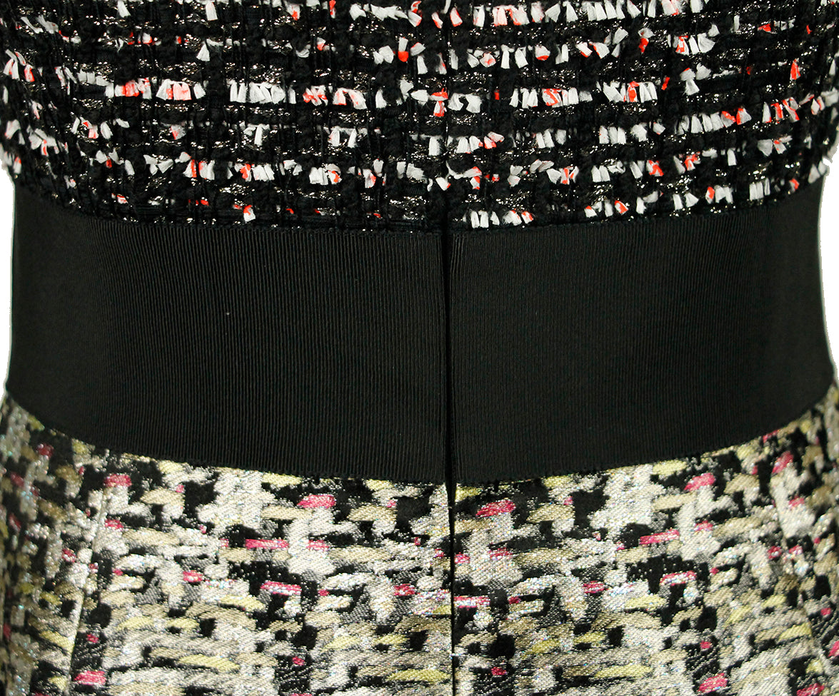 Giambattista Black White Tweed Silk Dress 5