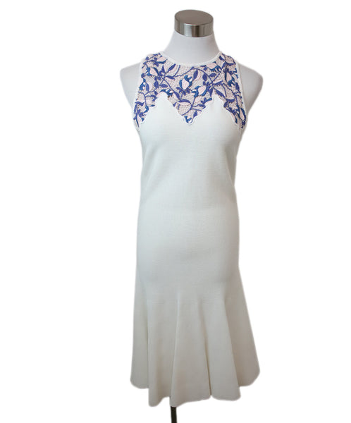 Giambattista Ivory Viscose Pink Periwinkle Lace Dress 1
