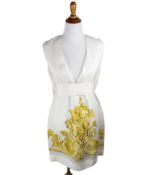 Giambattista White Ivory Silk Yellow Floral Dress Sz 10