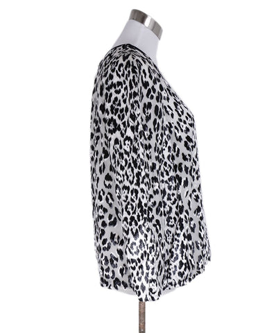 Giambattista Black White Animal Print Viscose Top 1