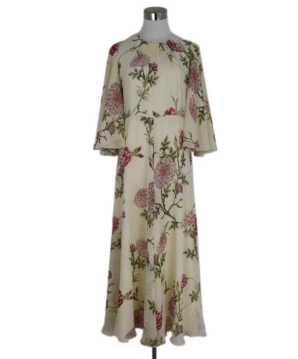 Giambattista Ivory Pink Green Floral Silk Dress 1