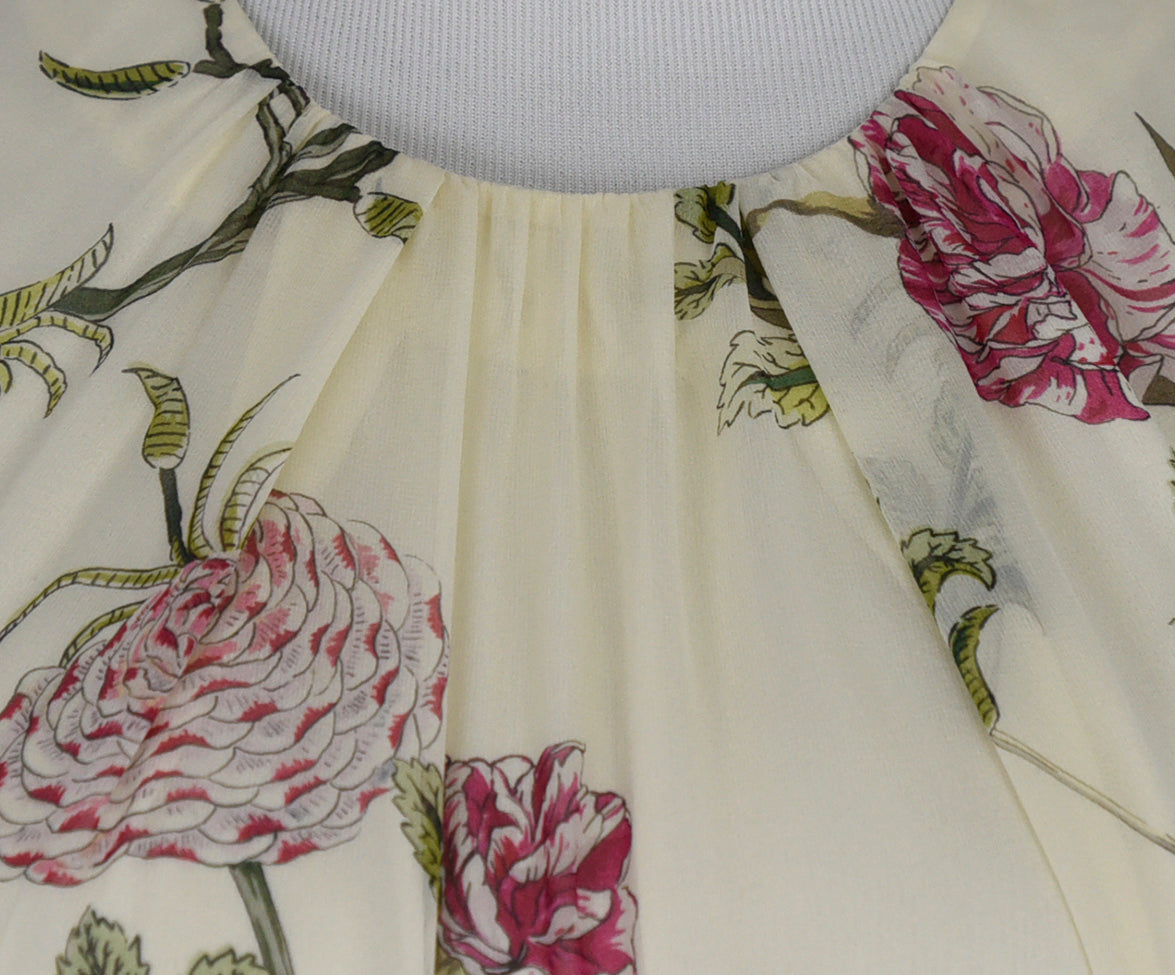 Giambattista Ivory Pink Green Floral Silk Dress 5