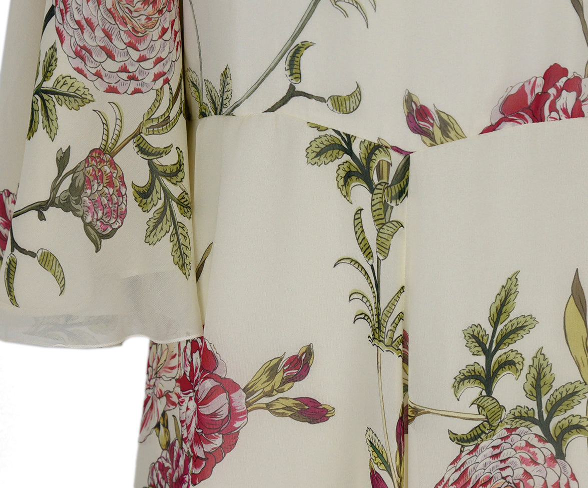 Giambattista Ivory Pink Green Floral Silk Dress 6