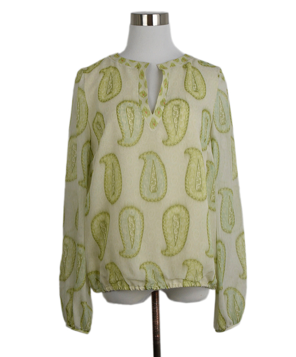 Giambattista Green Silk Cream Print Blouse 1