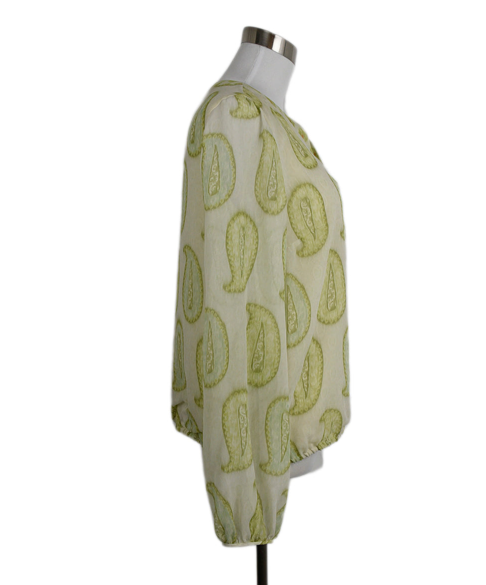 Giambattista Green Silk Cream Print Blouse 2