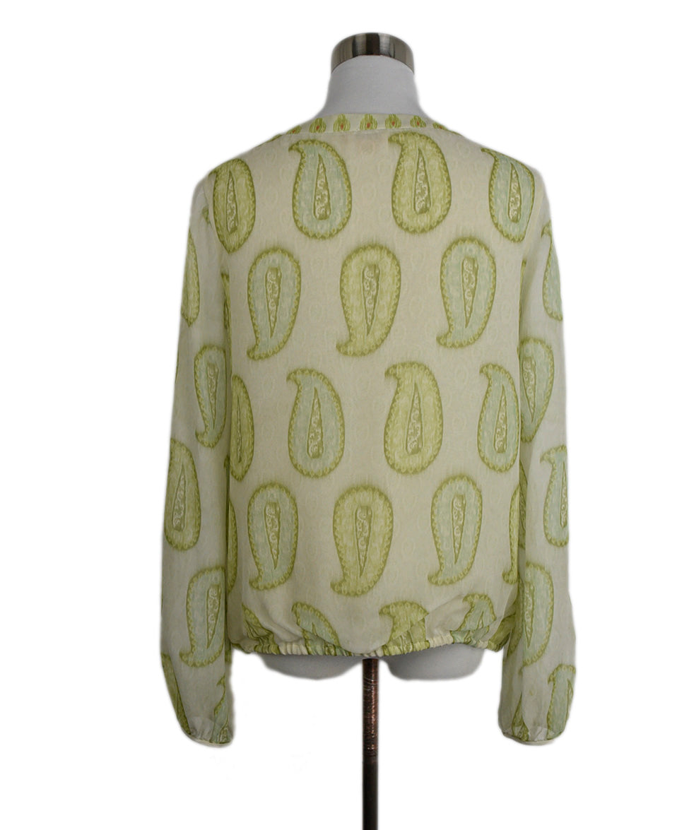 Giambattista Green Silk Cream Print Blouse 3