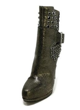 Giancarlo Paoli Metallic Pewter Crackled Leather Rhinestones Boots 1