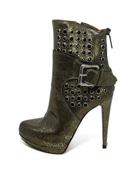 Giancarlo Paoli Metallic Pewter Crackled Leather Rhinestones Boots 2