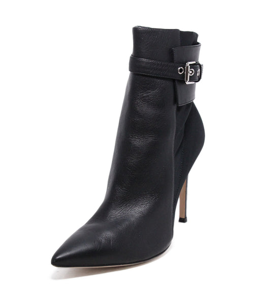Gianvito Rossi Black Leather Buckle Trim Booties 1