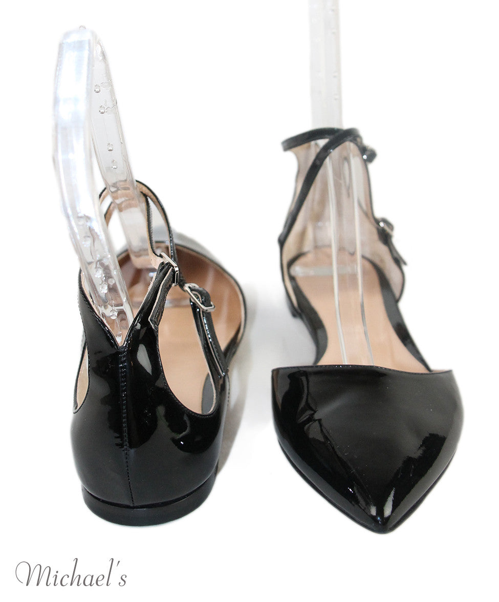 Gianvito Rossi  Black Patent Leather Shoes Sz 38