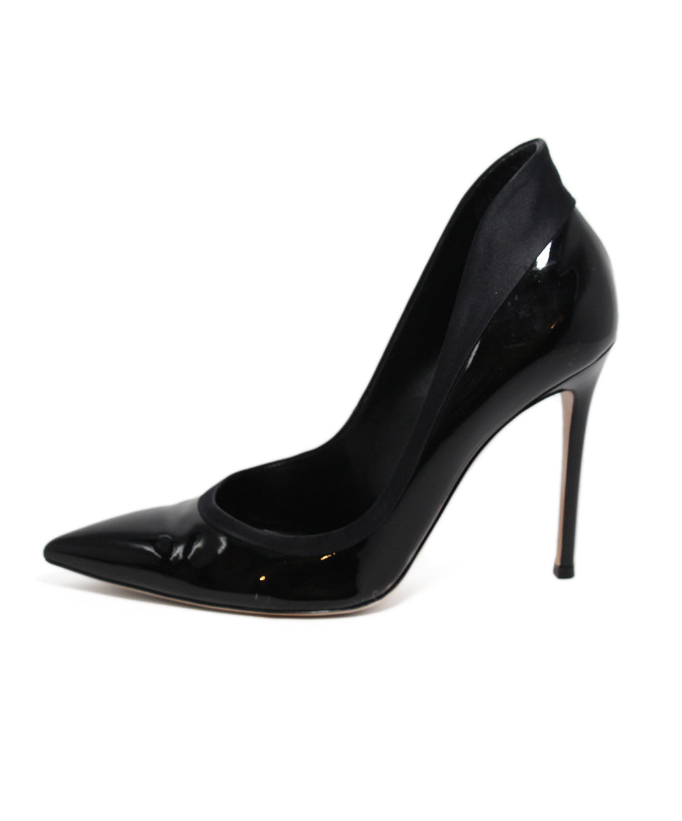 Gianvito Rossi Black Patent Leather Satin Shoes 2
