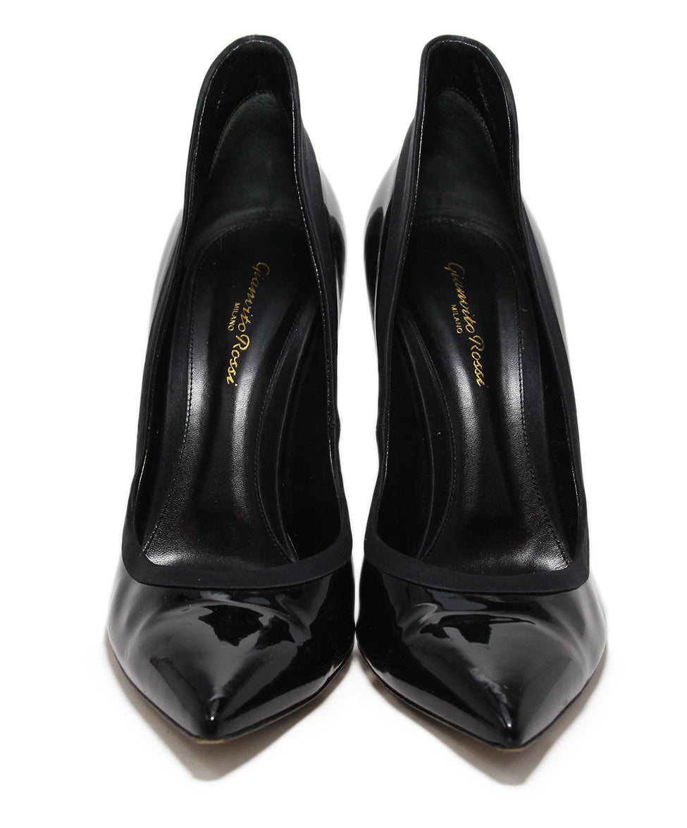 Gianvito Rossi Black Patent Leather Satin Shoes 4