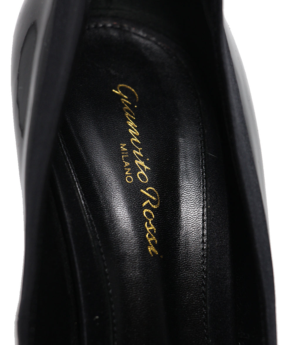 Gianvito Rossi Black Patent Leather Satin Shoes 7