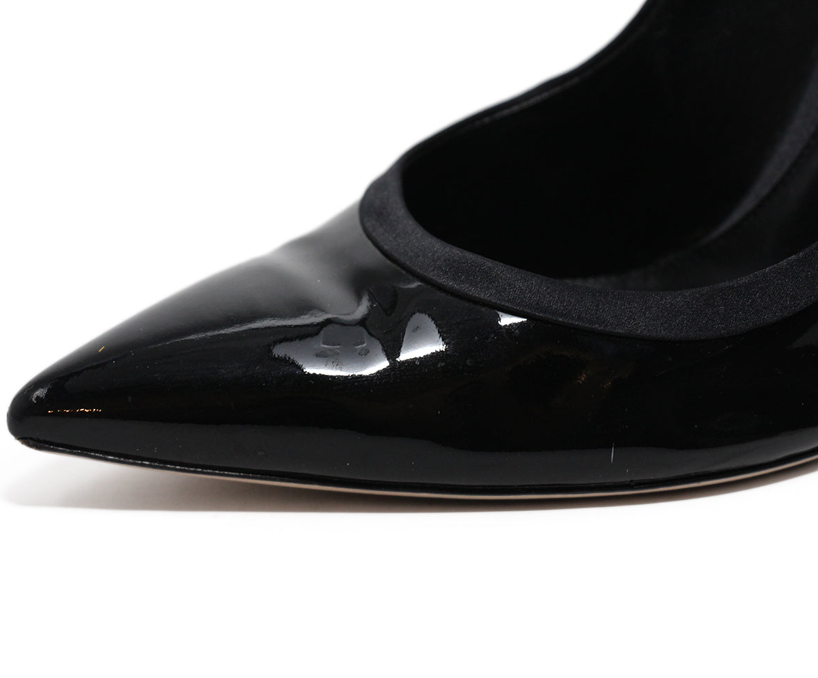 Gianvito Rossi Black Patent Leather Satin Shoes 8