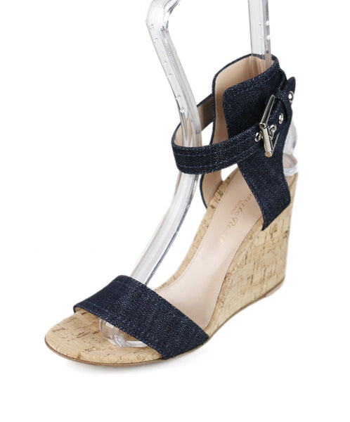 Gianvito Rossi Blue Navy Denim Cork Wedges