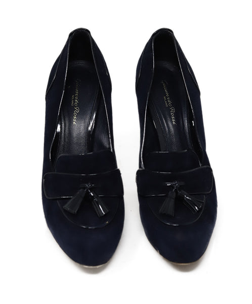 Gianvito Rossi Blue Navy Suede Patent Trim Toggle Shoes 2