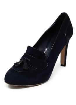 Gianvito Rossi Blue Navy Suede Patent Trim Toggle Shoes