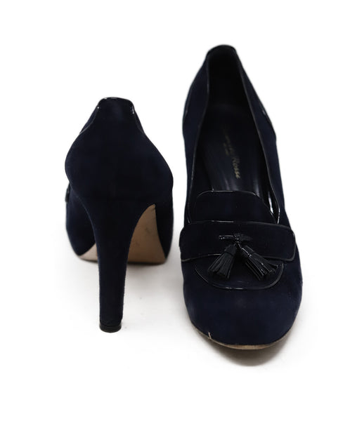 Gianvito Rossi Blue Navy Suede Patent Trim Toggle Shoes 3