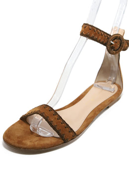 Gianvito Rossi Brown Suede Stitching Shoes 1