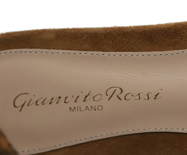 Gianvito Rossi Brown Suede Stitching Shoes 4