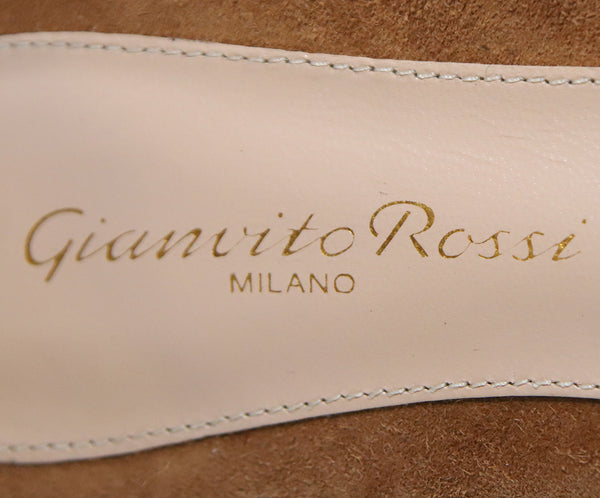 Gianvito Rossi Brown Suede Stitching Shoes 5