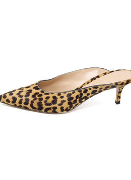 Gianvito Rossi Brown Tan Leopard Print Fur Mules 1
