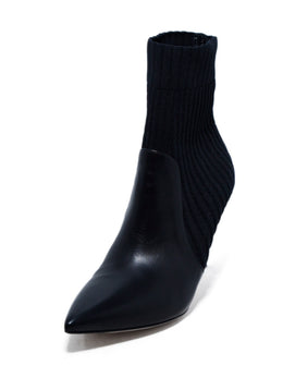 Gianvito Rossi Black Knit Leather Booties 1