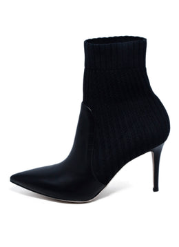 Gianvito Rossi Black Knit Leather Booties 2