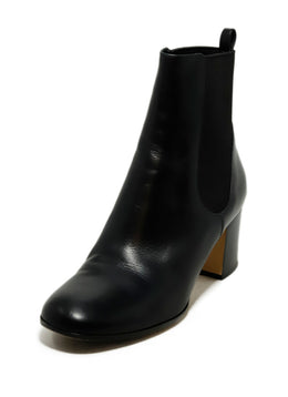 Gianvito Rossi Black Leather Elastic Trim Booties 1
